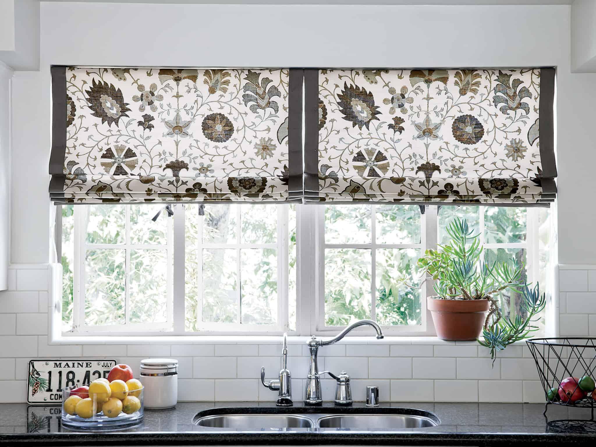 roman shades in kitchen
