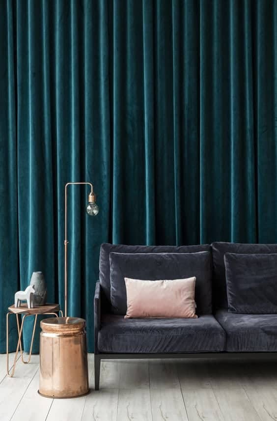 blue velvet curtain drapery