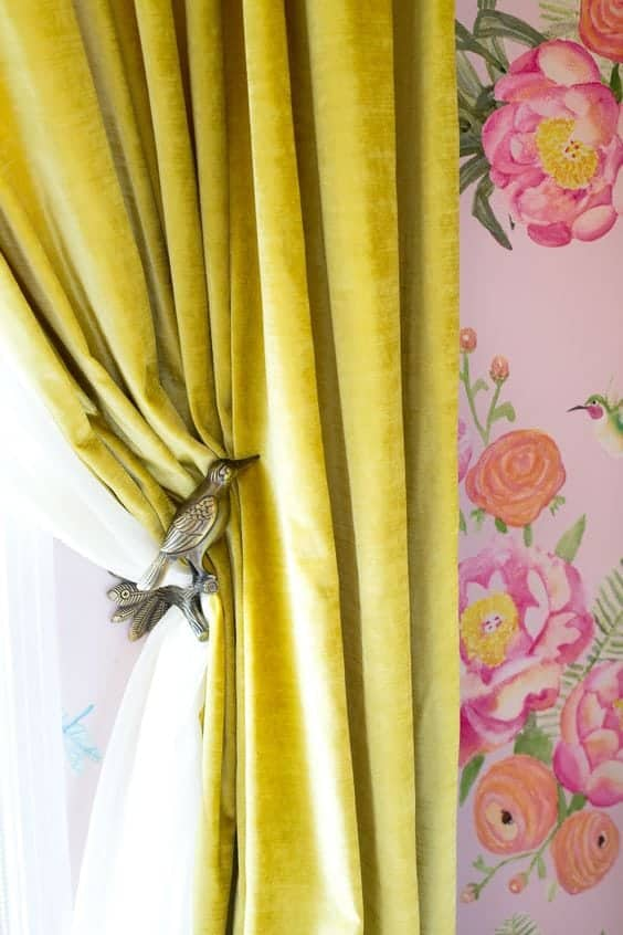 mustard velvet curtain drapery