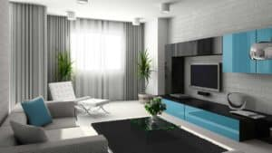 modern living room with curtains