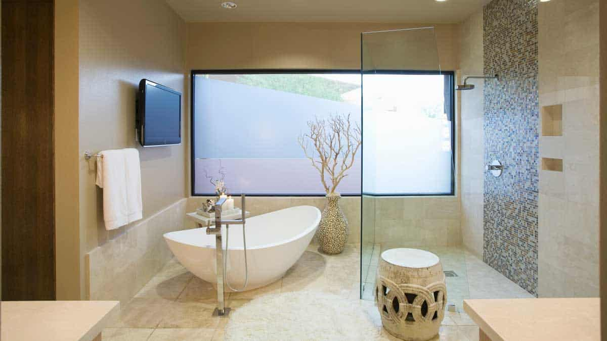 modern bathroom with shower tub