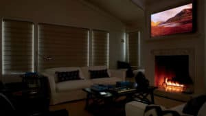 living room with blackout shades