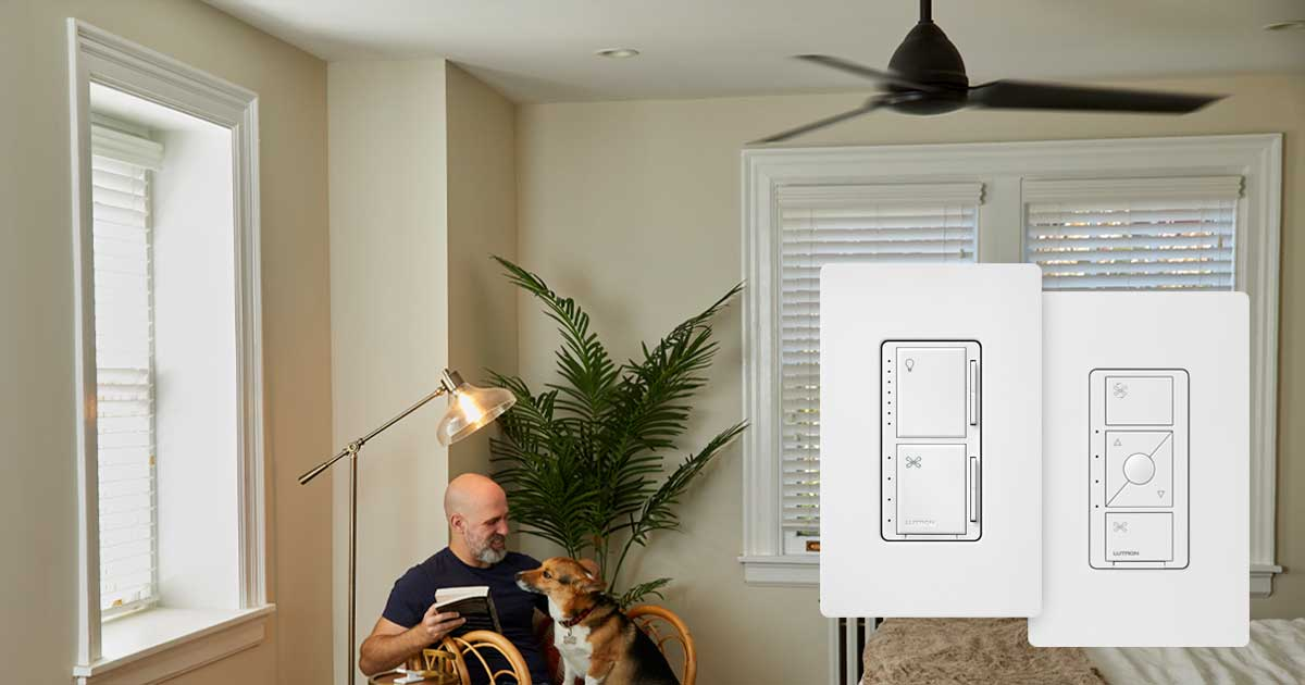 man with dog in home with smart switches