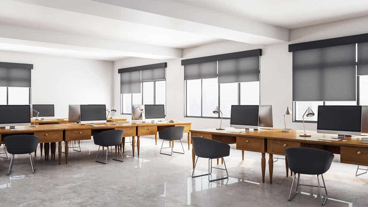 office with big window treatments blinds