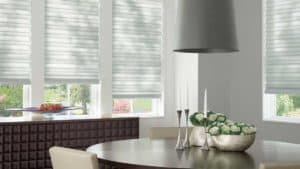 soft roman shades in dinging room