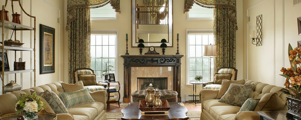 Gold living room front view