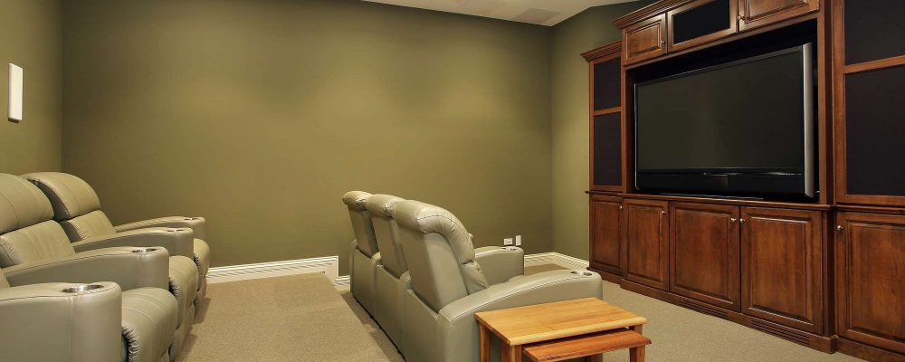 Home theater design with theater seating