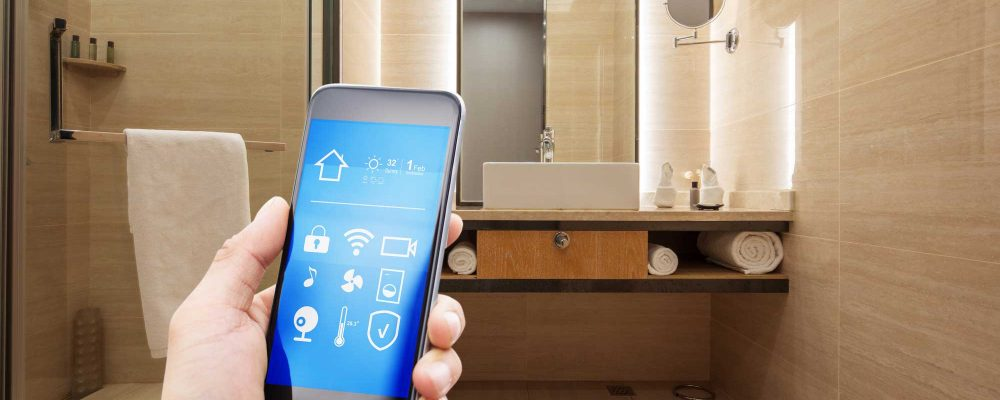 Smartphone with smart home and modern bathroom
