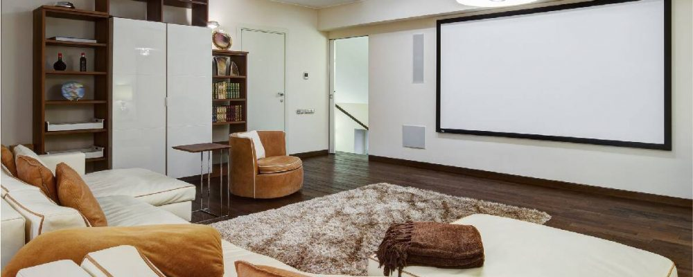 home theater room with home automation