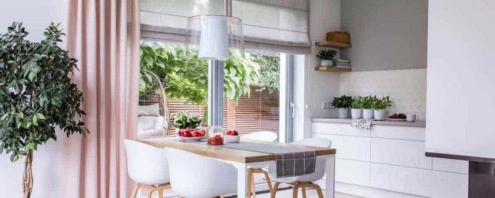 modern kitchen with fancy window treatment